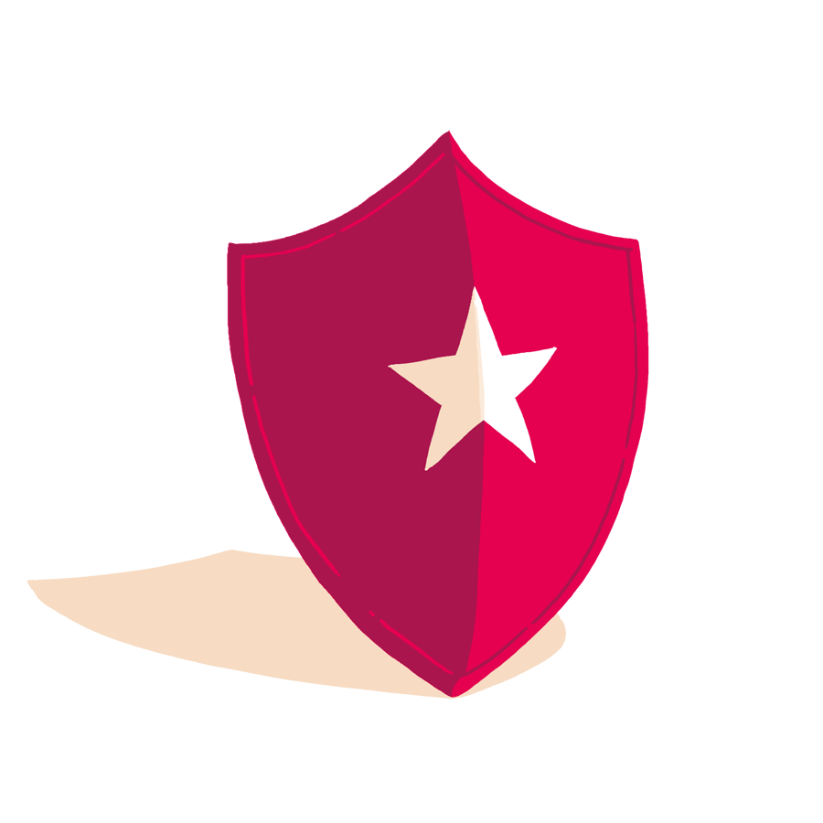 a red shield