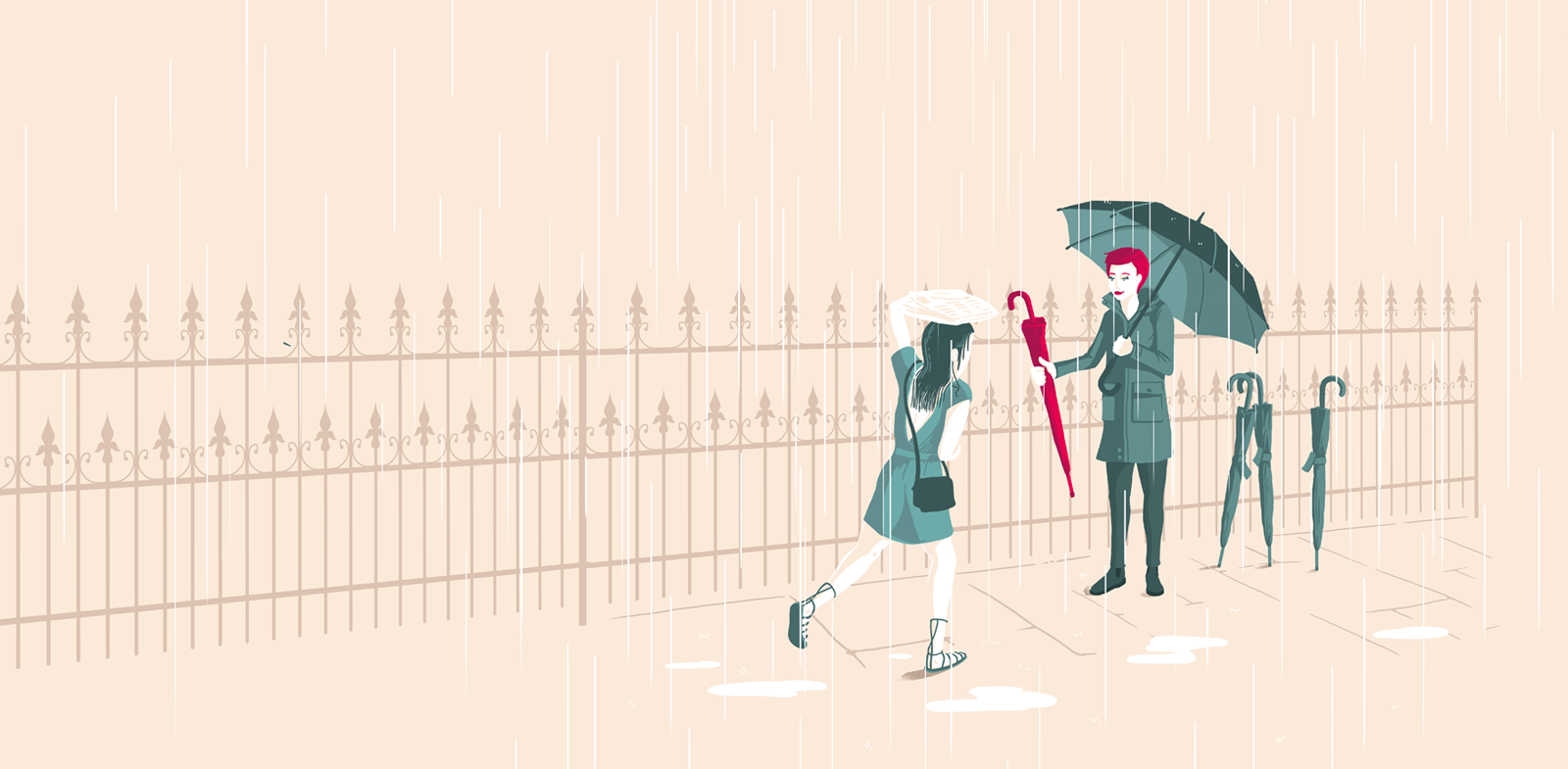A soaking-wet woman runs in the rain towards another women, who is holding out a red umbrella to offer her.